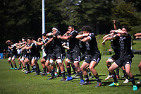 NZ Maori performs a haka before the rugby match between New Zealand Maori Under-18 and Fiji Schools at Jerry Collins Stadium in Porirua, Wellington, New Zealand on Friday, 5 October 2018. Photo: Dave Lintott / lintottphoto.co.nz
