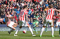 Swansea City's Jack Cork shoots at goal during the Barclays Premier League match between Stoke City and Swansea City played at Britannia Stadium, Stoke on April 2nd 2016