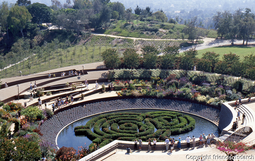 Richard Meier: The Getty Center. Robert Irwin's garden viewed from the southwest terrace.  Photo '99.