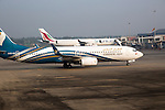 Oman Airways Boeing 737 plane, Bandaranayake International Airport, Colombo, Sri Lanka, Asia
