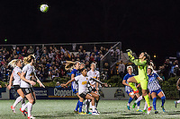 Allston, MA - Saturday Sept. 24, 2016: Sabrina D'Angelo going to save a direct kick during a regular season National Women's Soccer League (NWSL) match between the Boston Breakers and the Western New York Flash at Jordan Field.