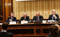 Igor Scalfarotto, Pier Carlo Padoan, ministro delle Finanze Vincenzo Boccia, presidente Confindustria, Claudio De Vincenti, Ministro Mezzogiorno, durante la conferenza stampa  a margine di Italy is Now and Next