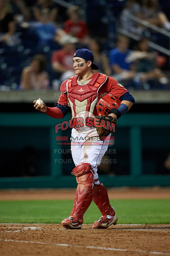 State College Spikes catcher Alexis Wilson (26) during a game against the West Virginia Black Bears on August 30, 2018 at Medlar Field at Lubrano Park in State College, Pennsylvania.  West Virginia defeated State College 5-3.  (Mike Janes/Four Seam Images)