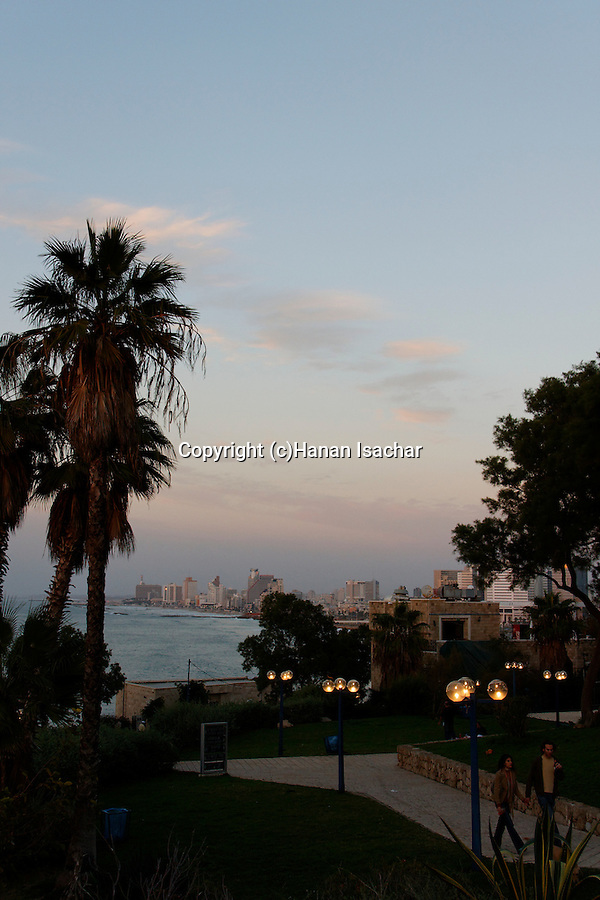 Israel, Tel Aviv-Yafo. Gan Hapisga in Jaffa, Tel Aviv is in the background