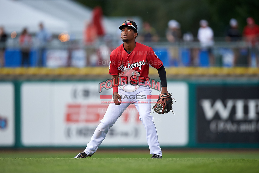Billings Mustangs shortstop Reyny Reyes (17) during a Pioneer League game against the Grand Junction Rockies at Dehler Park on August 14, 2019 in Billings, Montana. Grand Junction defeated Billings 8-5. (Zachary Lucy/Four Seam Images)