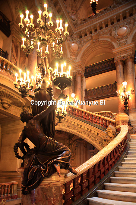 The Grand Staircase of Opera Garnier. Palais Garnier. City of Paris. Paris