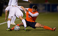 Max Lachowecki (6) of Notre Dame fights for the ball with Nicko Corriveau (10) of Virginia during the ACC tournament semifinals at the Maryland SoccerPlex in Boyds, MD.  Virginia advanced to the finals after tying Notre Dame, 3-3, in overtime and then defeating them on penalty kicks.