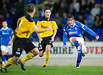 St Johnstone v Livingston...24.08.11   Scottish Communities League Cup Round 2.Francisco Sandaza gets away from Liam Fox.Picture by Graeme Hart..Copyright Perthshire Picture Agency.Tel: 01738 623350  Mobile: 07990 594431