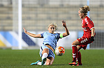 Steph Houghton of Manchester City Women during the Women's Champions League last 16 tie, first leg between Manchester City Women and Brondby IF at the Academy Stadium. <br /> <br /> Photo credit should read: Lynne Cameron/Sportimage