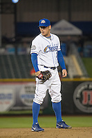 Chris Dwyer (28) of the Omaha Storm Chasers delivers a pitch to the plate against the Memphis Redbirds in Pacific Coast League action at Werner Park on April 24, 2015 in Papillion, Nebraska.  (Stephen Smith/Four Seam Images)