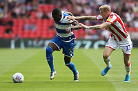 Queens Park Rangers' Bright Osayi-Samuel shields the ball from Stoke City's James McClean <br /> <br /> Photographer Stephen White/CameraSport<br /> <br /> The EFL Sky Bet Championship - Stoke City v Queens Park Rangers - Saturday 3rd August 2019 - bet365 Stadium - Stoke-on-Trent<br /> <br /> World Copyright © 2019 CameraSport. All rights reserved. 43 Linden Ave. Countesthorpe. Leicester. England. LE8 5PG - Tel: +44 (0) 116 277 4147 - admin@camerasport.com - www.camerasport.com