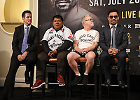 BEVERLY HILLS - MAY 22: Sean Gibbons, Buboy Fernandez, Freddie Roach, and Manny Pacquiao at the press conference for the Manny Pacquiao vs Keith Thurman Premier Boxing Champions on FOX Sports Pay-Per-View fight on July 20 in Las Vegas. (Photo by Frank Micelotta/Fox Sports/PictureGroup)
