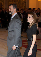 Prince Felipe of Spain and Princess Letizia os Spain attend the National Sports Awards ceremony at El Pardo Palace. December 05, 2012. (ALTERPHOTOS/Caro Marin) NortePhoto