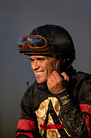 ARCADIA, CA - MARCH 11: Jockey, Javier Castellano after winning the Santa Anita Handicap at Santa Anita Park before being banned off with an injury, on March 11, 2017 in Arcadia, California. (Photo by Alex Evers/Eclipse Sportswire/Getty Images)