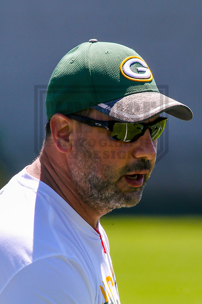 Green Bay Packers tight ends coach Brian Angelichio during an OTA on June 6, 2017 at Clarke Hinkle Field in Green Bay, Wisconsin. (Brad Krause/Krause Sports Photography)