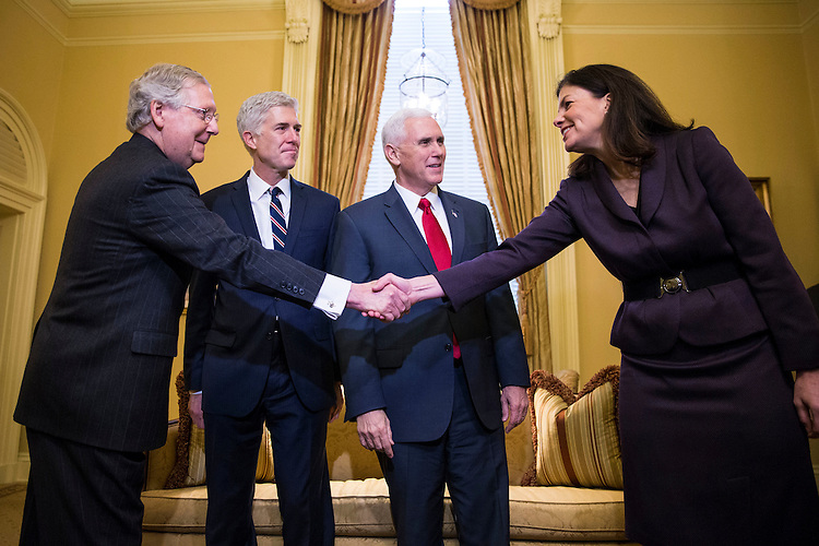 From left, Senate Majority Leader Mitch McConnell of Kentucky, Supreme Court Nominee Judge Neil Gorsuch, Vice President Mike Pence, and former Sen. Kelly Ayotte (R-N.H.), on Capitol Hill, in Washington, Feb. 1, 2017. (Al Drago/Pool/The New York Times)