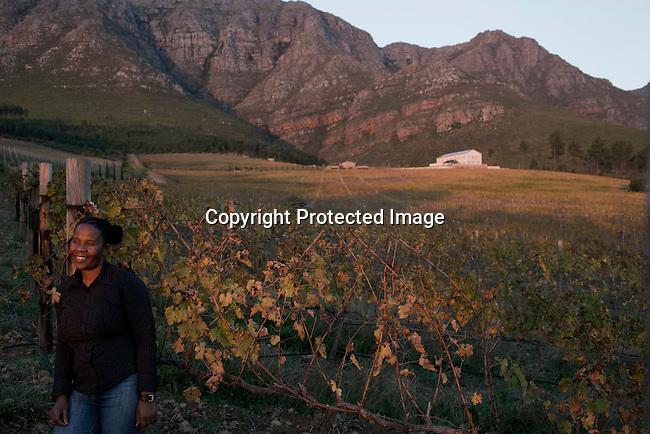 Winemaker Ntsiki Biyela in the vineyards at Stellekaya estate in Stellenbosch outside Cape Town, South Africa.