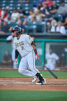 Roberto Pena (31) of the Salt Lake Bees bats against the Round Rock Express at Smith's Ballpark on June 10, 2019 in Salt Lake City, Utah. The Bees defeated the Express 9-7. (Stephen Smith/Four Seam Images)