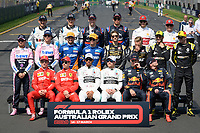 March 17, 2019: Drivers pose for the start of season group photograph on the main straight at the 2019 Australian Formula One Grand Prix at Albert Park, Melbourne, Australia. Photo Sydney Low