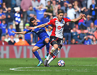 Chelsea's Pedro (left) battles with Southampton's Jan Bednarek (right) <br /> <br /> Photographer David Horton/CameraSport<br /> <br /> The Premier League - Southampton v Chelsea - Saturday 14th April2018 - St Mary's Stadium - Southampton<br /> <br /> World Copyright &copy; 2018 CameraSport. All rights reserved. 43 Linden Ave. Countesthorpe. Leicester. England. LE8 5PG - Tel: +44 (0) 116 277 4147 - admin@camerasport.com - www.camerasport.com