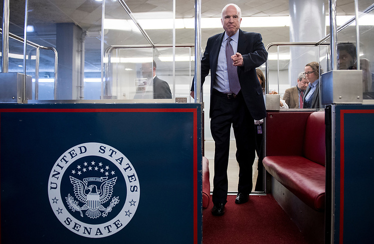 UNITED STATES - OCTOBER 25: Sen. John McCain, R-Ariz., boards the Senate subway in the Capitol on Wednesday, Oct. 25, 2017. (Photo By Bill Clark/CQ Roll Call)