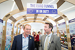 "© Joel Goodman - 07973 332324 . 09/06/2016 . Manchester , UK . Liberal Democrat leader TIM FARRON and JOHN LEECH , campaigning for Remain at an "" EU Tunnel "" display , at the People's History Museum in Manchester . Photo credit : Joel Goodman"