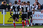 Nathan Arnold of Grimsby Town (right) celebrates scoring the opening goal against Eastleigh  during the Vanamara Conference Play Off Semi Final First Leg match between Eastleigh and Grimsby Town at The Silverlake Stadium, Eastleigh<br /> Picture by David Horn/eXtreme aperture photography +44 7545 970036<br /> 30/04/2015