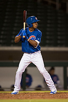 AZL Cubs 1 right fielder Yovanny Cuevas (21) at bat during an Arizona League game against the AZL Diamondbacks at Sloan Park on June 18, 2018 in Mesa, Arizona. AZL Diamondbacks defeated AZL Cubs 1 7-0. (Zachary Lucy/Four Seam Images)