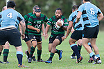 James Masters takes on the Weymouth forwards. Counties Manukau Premier 3 Counties Power Club Rugby Round 1 game between Maramarua and Weymouth, played at Maramarua on Saturday April 7th, 2018. Weymouth won the game 43 - 17 after leading 33 - 0 at halftime.<br /> Photo by Richard Spranger.