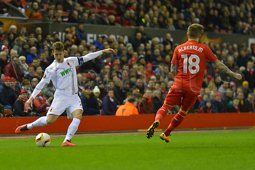 25.02.2016. Liverpool, England. UEFA Europa League game between Liverpool FC and Augsburg.  Paul VERHAEGH (FC Augsburg)  crosses into the box as Augsburg hunt for a goal