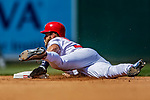 14 April 2018: Washington Nationals outfielder Bryce Harper steals second in the 6th inning against the Colorado Rockies at Nationals Park in Washington, DC. The Nationals rallied to defeat the Rockies 6-2 in the 3rd game of their 4-game series. Mandatory Credit: Ed Wolfstein Photo *** RAW (NEF) Image File Available ***