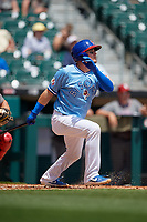 Buffalo Bisons Reese McGuire (7) hits an RBI sac fly during an International League game against the Lehigh Valley IronPigs on June 9, 2019 at Sahlen Field in Buffalo, New York.  Lehigh Valley defeated Buffalo 7-6 in 11 innings.  (Mike Janes/Four Seam Images)