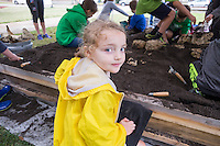 Children excavate a mock archaeology site at Cobb for Mississippi Archaeology Month<br />  (photo by Megan Bean / &copy; Mississippi State University)