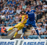 Bolton Wanderers' Eddie Brown (left) battles with Gillingham's Max Ehmer (right) <br /> <br /> Photographer David Horton/CameraSport<br /> <br /> The EFL Sky Bet League One - Gillingham v Bolton Wanderers - Saturday 31st August 2019 - Priestfield Stadium - Gillingham<br /> <br /> World Copyright © 2019 CameraSport. All rights reserved. 43 Linden Ave. Countesthorpe. Leicester. England. LE8 5PG - Tel: +44 (0) 116 277 4147 - admin@camerasport.com - www.camerasport.com