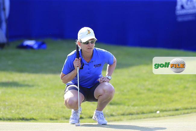Karrie Webb (AUS) lines up her putt on the 18th green during Sunday's Final Round of the 2015 KPMG Women's PGA Championship held at Westchester Country Club, Harrison, New York, USA. 6/14/2015.<br /> Picture &copy; Golffile/Eoin Clarke