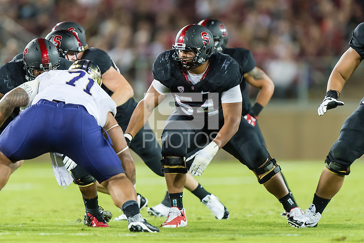 STANFORD, CA - OCTOBER 5, 2013:  David Yankey during Stanford's game against University of Washington. The Cardinal defeated the Huskies 31-28.