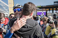 Tom Boonen (BEL/Quick-Step Floors) hugging his buddy (and famous belgian singer/TV-host) Koen Wauters before heading out for his last ever pro race (at the start in Compiègne)<br /> <br /> 115th Paris-Roubaix 2017 (1.UWT)<br /> One Day Race: Compiègne › Roubaix (257km)