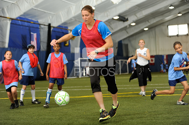 Nicole Barnhart of the Philadelphia Independence during a Women's Professional Soccer (WPS) soccer clinic at the Starfinder Foundation Facility in Philadelphia, PA, on May 24, 2011.
