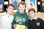 Ivan McGiolla Phádraig, Oisín Mac Cormaic and Ryan Levins at the Art Exhibition in Scoil Aonghusa..(Photo credit should read Jenny Matthews www.newsfile.ie)....This Picture has been sent you under the conditions enclosed by:.Newsfile Ltd..The Studio,.Millmount Abbey,.Drogheda,.Co Meath..Ireland..Tel: +353(0)41-9871240.Fax: +353(0)41-9871260.GSM: +353(0)86-2500958.email: pictures@newsfile.ie.www.newsfile.ie.