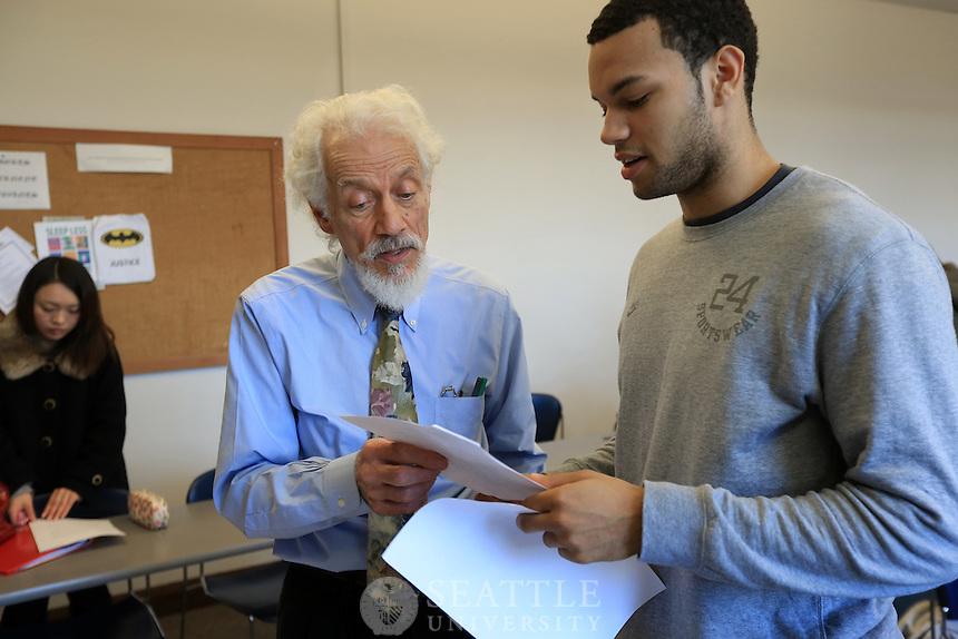 01162013-  Matteo Ricci professor Michael Matriotti's Poverty in America class. Team teaching with Brendan Busse S.J.