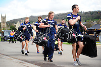 The Sale Sharks team arrive at the Rec. Aviva Premiership match, between Bath Rugby and Sale Sharks on April 23, 2016 at the Recreation Ground in Bath, England. Photo by: Patrick Khachfe / Onside Images