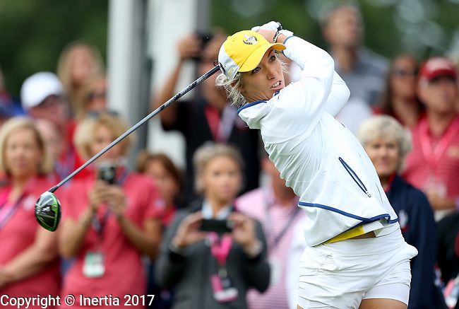 DES MOINES, IA - AUGUST 18: Europe's Mel Reid watches her tee shot on the first hole Friday morning at the 2017 Solheim Cup in Des Moines, IA. (Photo by Dave Eggen/Inertia)
