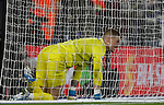 Jordan Pickford of Everton reacts after Jamie Vardy of Leicester City scored during the Premier League match at the King Power Stadium, Leicester. Picture date: 1st December 2019. Picture credit should read: Darren Staples/Sportimage