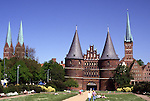 Europe, DEU, Germany, Schleswig Holstein, Lubeck, Holstentor Gate, Typical view on to the city ....[ For each utilisation of my images my General Terms and Conditions are mandatory. Usage only against use message and proof. Download of my General Terms and Conditions under http://www.image-box.com or ask for sending. A clearance before usage is necessary...Material is subject to royalties. Each utilisation of my images is subject to a fee in accordance to the present valid MFM-List...Contact | archive@image-box.com | www.image-box.com ]