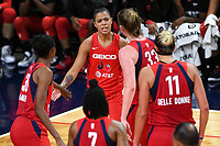 Washington, DC - Sept 17, 2019: Washington Mystics guard Natasha Cloud (9) is fired up after being fouled on her way to the basket during WNBA Playoff semi final game between Las Vegas Aces and Washington Mystics at the Entertainment & Sports Arena in Washington, DC. The Mystics hold on to beat the Aces 97-95. (Photo by Phil Peters/Media Images International)