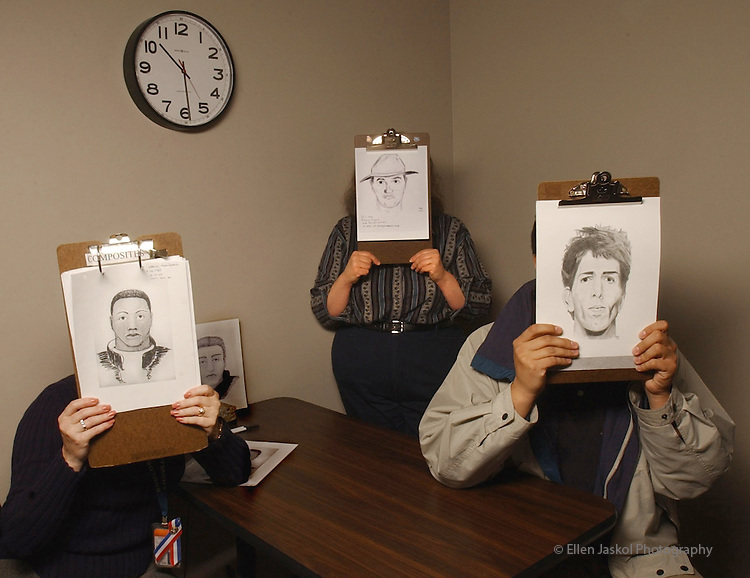 Sketch artists at the Boulder Police Dept. hold up recent sketches they've made, including one on the left, held by Informations Specialist Renee McCoy, which led to an arrest.  In center is Assistant Crime Analyst Becky Adams with one of her sketches, and Patrol Officer Pete Navarro, (with a sketch he made from a booking mug of a suspect).  They're sitting in an interview room at the police station, where a sketch artist would sit with a witness to come up with a composite drawing...Portrait of 3 sketch artists: Renee McCoy, Becky Adams, Ofr. Pete Navarro.
