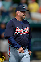 Atlanta Braves manager Fredi Gonzalez #33 before a Spring Training game against the Detroit Tigers at Joker Marchant Stadium on February 27, 2013 in Lakeland, Florida.  Atlanta defeated Detroit 5-3.  (Mike Janes/Four Seam Images)