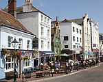Pubs and old historic buildings on quayside at Poole harbour, Poole, Dorset, England, UK