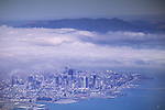 Aerial of fog moving in over downtown San Francisco, California (c.2003)