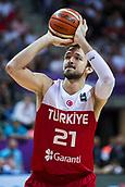 7th September 2017, Fenerbahce Arena, Istanbul, Turkey; FIBA Eurobasket Group D; Latvia versus Turkey; Small Forward Erkan Veyseloglu of Turkey performs free throw